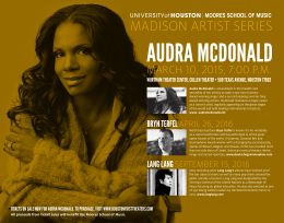 AUDRA MCDONALD MADISON ARTIST SERIES MARCH 10, 2015, 7:00 P.M.