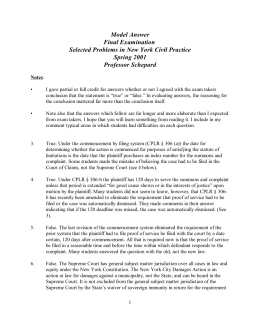 Model Answer Final Examination Selected Problems in New York Civil Practice Spring 2001