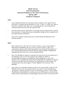 Model Answer Final Examination Selected Problems in New York Civil Practice Spring 2003