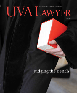 Judging the Bench The UniversiTy of virginia school of law Fall 2013
