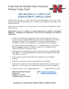 Come Join the Nicholls State University Summer Camp Team! EMPLOYMENT APPLICATION