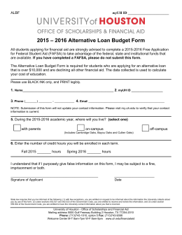 – 2016 Alternative Loan Budget Form 2015