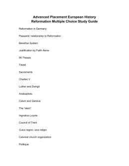 Ap euro reformation long essay