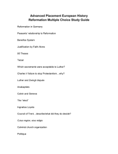 Advanced Placement European History Reformation Multiple Choice Study Guide