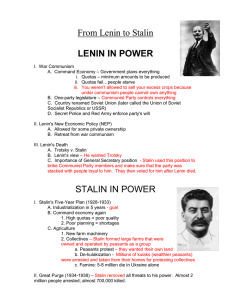 From Lenin to Stalin LENIN IN POWER