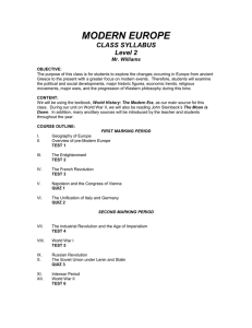 MODERN EUROPE CLASS SYLLABUS Level 2 Mr. Williams