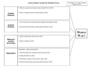 LONG-TERM CAUSES OF WORLD WAR I