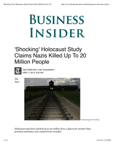 'Shocking' New Holocaust Study Claims Nazis Killed Up To 20...