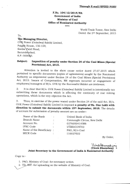 Through E-mail/SPEED POST F.No. 104/12/2015/NA Government of India Ministry of Coal