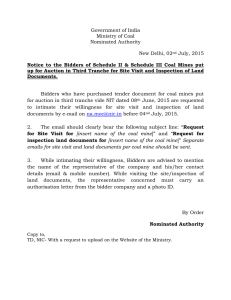 Government of India Ministry of Coal Nominated Authority