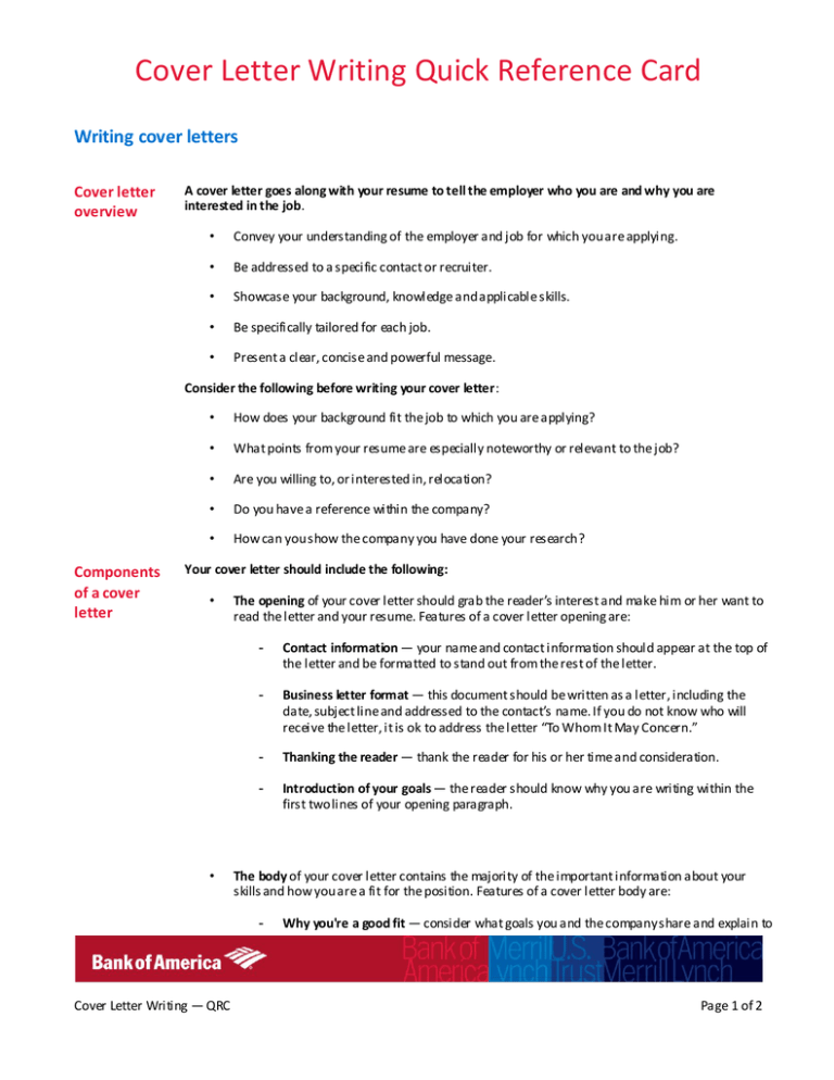 Cover Letter Writing Quick Reference Card Writing Cover Letters Cover Letter