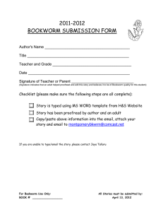BOOKWORM SUBMISSION FORM