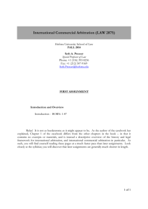 International Commercial Arbitration (LAW 2875)