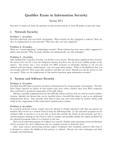 Qualifier Exam in Information Security Spring 2011