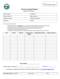 Service Learning Program  Student Time Sheet