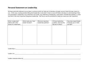 Personal Statement on Leadership