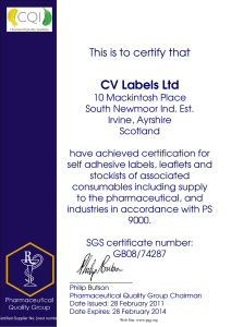 CV Labels Ltd This is to certify that