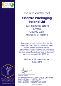 Essentra Packaging Ireland Ltd This is to certify that IDA Industrial Estate