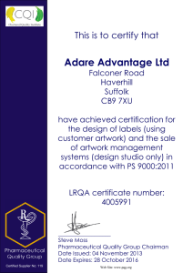 Adare Advantage Ltd This is to certify that