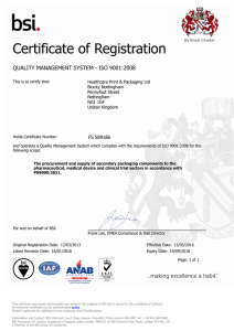 Certificate of Registration QUALITY MANAGEMENT SYSTEM - ISO 9001:2008