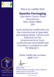 Essentra Packaging This is to certify that