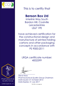 Benson Box Ltd This is to certify that