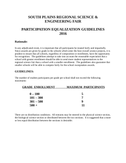 SOUTH PLAINS REGIONAL SCIENCE & ENGINEERING FAIR PARTICIPATION EQUALIZATION GUIDELINES 2016