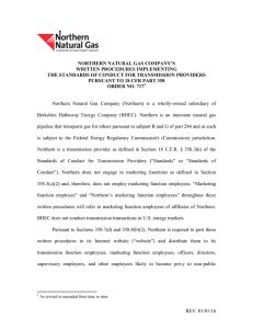 NORTHERN NATURAL GAS COMPANY'S WRITTEN PROCEDURES IMPLEMENTING