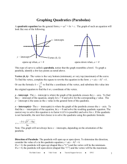 Graphing Quadratics (Parabolas)