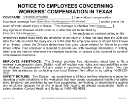 NOTICE TO EMPLOYEES CONCERNING WORKERS' COMPENSATION IN TEXAS