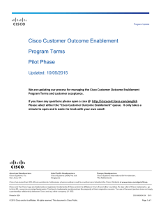 Cisco Customer Outcome Enablement Program Terms Pilot Phase Updated: 10/05/2015