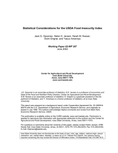 Statistical Considerations for the USDA Food Insecurity Index
