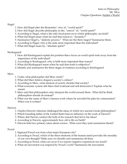 Intro to Philosophy Mr. Silva Chapter Questions: Sophie's World