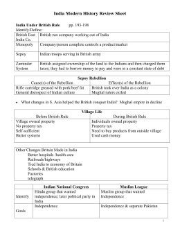 India Modern History Review Sheet