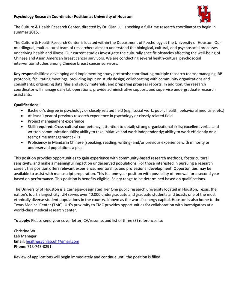 Psychology Research Coordinator Position At University Of Houston