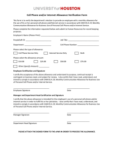 Cell Phone and/or Internet Allowance Verification Form