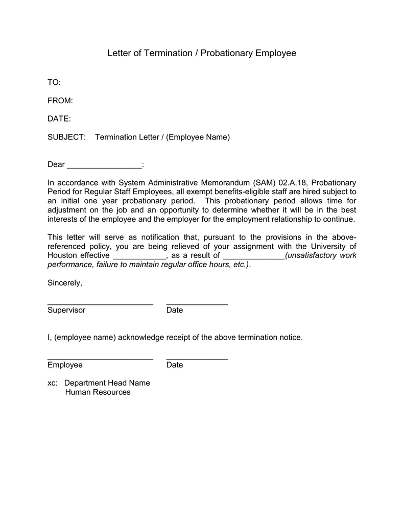 Letter Of Employee Termination from s2.studylib.net