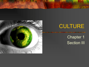 CULTURE Chapter 1 Section III