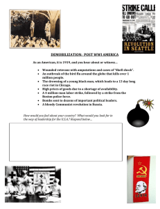 DEMOBILIZATION:  POST WWI AMERICA