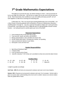 7 Grade Mathematics Expectations th