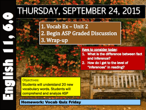 THURSDAY, SEPTEMBER 24, 2015 Objectives: Students will understand 20 new