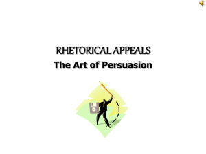 RHETORICAL APPEALS The Art of Persuasion