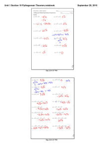 Unit 1 Section 10 Pythagorean Theorem.notebook September 29, 2015 Sep 22­4:37 PM