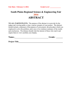 ABSTRACT  2016 South Plains Regional Science & Engineering Fair