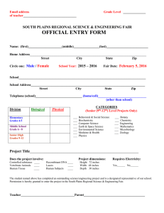 OFFICIAL ENTRY FORM  SOUTH PLAINS REGIONAL SCIENCE & ENGINEERING FAIR