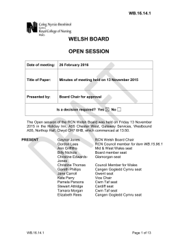 WELSH BOARD OPEN SESSION WB.16.14.1
