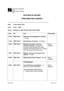 RCN WELSH BOARD OPEN MEETING AGENDA