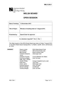 WELSH BOARD OPEN SESSION WB.15.94.1
