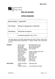 WELSH BOARD OPEN SESSION WB.15.68.1