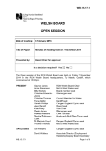 WELSH BOARD OPEN SESSION WB.15.17.1